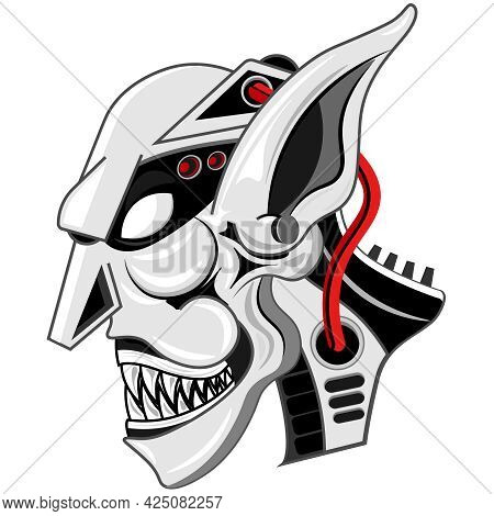 Scary Goblin Robot. Vector Illustration On The Theme Of Fairy Tales And Legends.