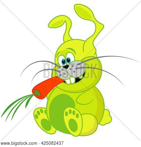 Funny, Unusual, Crazy Rabbit With A Carrot. An Illustration Of A Pet On A White Background.