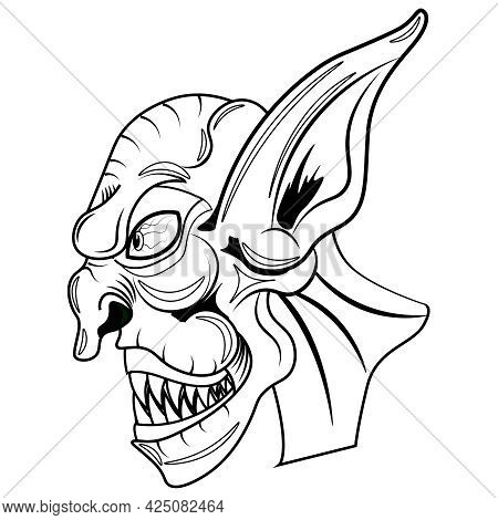 Scary Goblin Coloring Book. Vector Illustration On The Theme Of Fairy Tales And Legends.