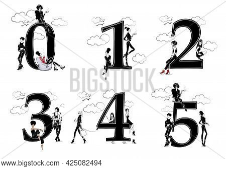 Fashion Girls In Sketch Style With Numbers. Vector Illustration.