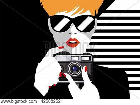 Comic Book Pop Art Illustration With Girl. Movie Star With Foto Camera. Photographer Or Videographer