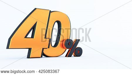3d Render Of Discount Forty 40 Percent Off Isolated On White Background
