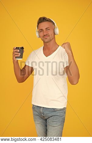 Live Life To The Full. Happy Man Hold Coffee Flexing Arm. Strong Coffee. Dark Roast. Natural Energy
