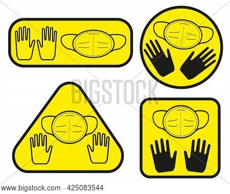 Line Art Vector Covid-19 Signs. A Ffp2 Mask And Gloves. Yellow Stickers On Windows, Walls And Doors
