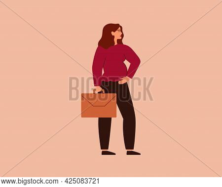 Business Pregnant Woman Holding Briefcase. Confident Working Expectant Mother Standing In Profile. C