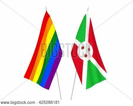 National Fabric Flags Of Rainbow Gay Pride And Burundi Isolated On White Background. 3d Rendering Il