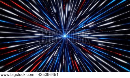 Wormhole In Time And Space With A Blue Light Surrounded By Millions Of Beams. Animation. Colorful Tu