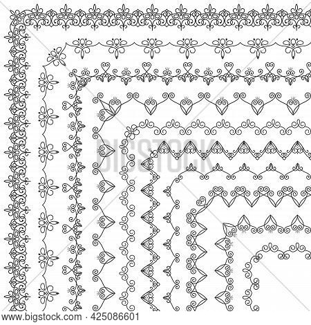 Vector Set Of Vintage Floral Linear Geometric Corner Brushes. Collection Of Decorative Beautiful, El
