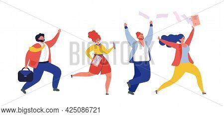 Business Team Run. People Running, Jogging Managers. Flat Work Competition, Happy Office Vector Char