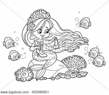 Beautiful Cartoon Princess Mermaid In Tiara Wonders What To Do With High Heel Shoes Outlined For Col