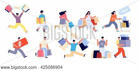 Happy People On Sale. Shopping Man, Shop Woman Consumer. Person With Cart, Girl Walk Clothes Shops.
