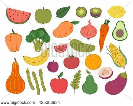Doodle Farm Vegetables Fruits. Colorful Vegetable, Flat Diet Carrot Lemon Broccoli. Cooking Raw Food