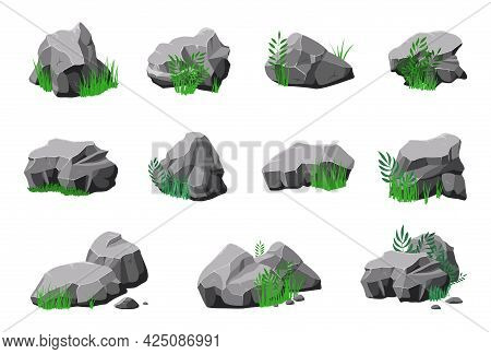 Stones In Grass. Cartoon Natural Mountain Stone, Granite Design With Green. 3d Rock Texture, Isolate