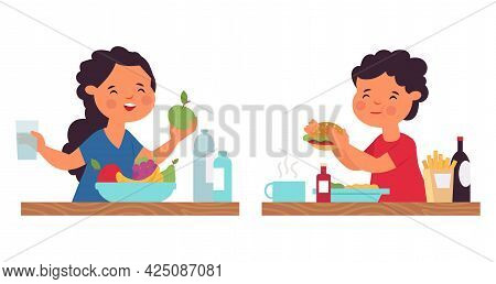 Boy Girl Eating. Person Eat, Healthy Breakfast. Cartoon Kids On Lunch Or Dinner. Child With Fruits A