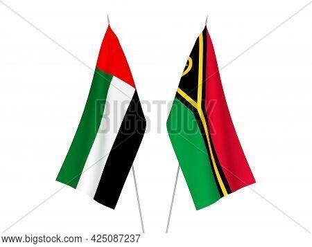 National Fabric Flags Of United Arab Emirates And Republic Of Vanuatu Isolated On White Background.