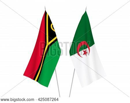 National Fabric Flags Of Algeria And Republic Of Vanuatu Isolated On White Background. 3d Rendering