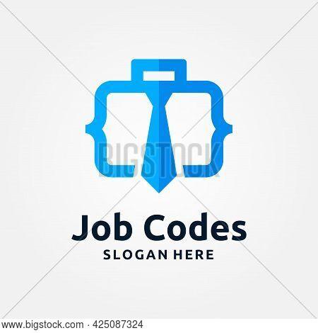 Job Code Logo Template Design. Coder Creative Vector Illustration