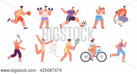 Sport People Characters. Healthy Women Running, Professional Athlete. Person Playing Soccer, Isolate