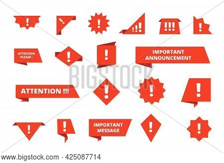 Important Message Banners. Text Information, Attention Please Notice Badges. Isolated Red Danger Ann