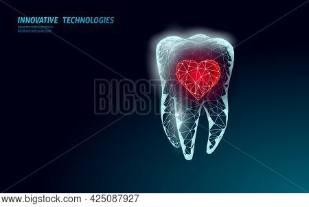 Low Poly Tooth Protection Medical Concept. Whitening Toothpaste Enamel Reconstruction Healthcare. Po