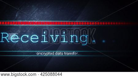 Image of receiving text flickering digital interface on screen. global connections, data processing, computing and digital interface concept digitally generated image.