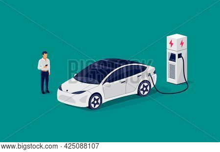 Isometric Electric Car Charging Parking At The Charger Station With A Plug In Cable. Flat Vector Ill
