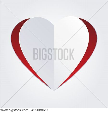 Paper Folded Heart. Papers Cutout Love Label, Cardboard Fold Tenderness Hearted Vector Illustration