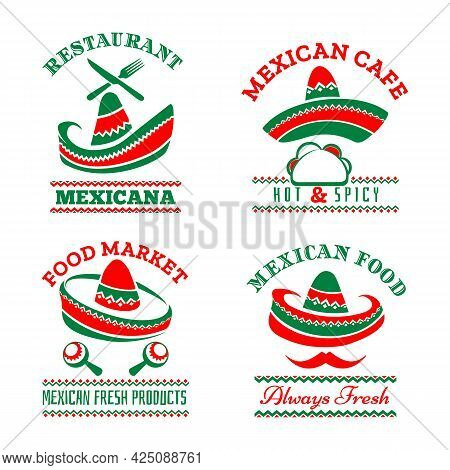 Isolated Mexican Restaurant Logos. Mexcian Nachos Bar And Traditional Pepper Mustache Resturant Food