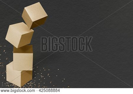 3D gold paper craft cubic patterned background