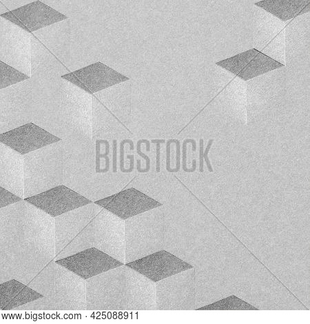 Gray paper cubic patterned background
