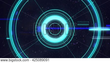 Image of flickering glowing blue scope scanning and lines on purple background. digital interface global connection and communication concept digitally generated image.
