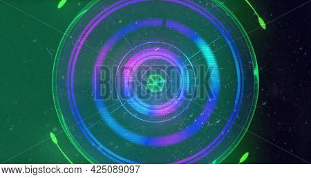 Image of flickering glowing scope scanning and geometric figures spinning on purple background. digital interface global connection and communication concept digitally generated image.