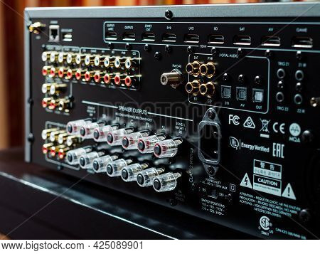 Moscow, Russia - May 23, 2021: Back Of A Music Audio Amplifier With Multiple Inputs And Outputs