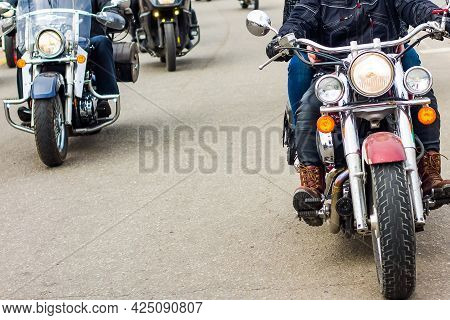 Motorcycle Travel. Motorcyclists Riding On The Road. Front View Of Motorbikes.