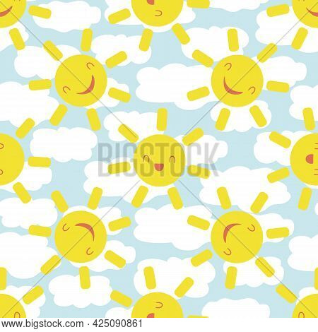 Cute Smiling Laughing Sun Kawaii Seamless Vector Pattern Background. Cartoon Weather Icons On Cloud