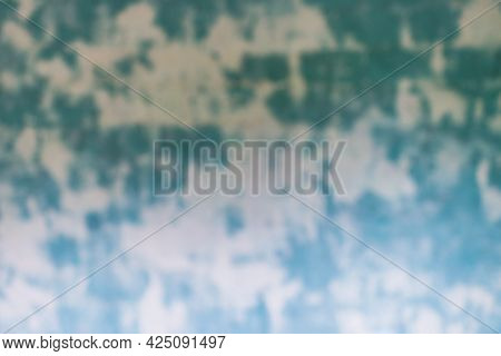 Blurred Blue Green Spoted Exposed Wall Texture.empty Old Stained Art Texture Of Plaster Brick Wall B