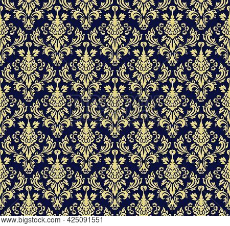 Damask Seamless Vector Pattern.  Elegant Design In Royal  Baroque Style Background Texture. Floral A