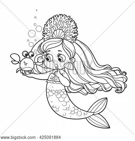 Cartoon Crab Showing A Large Pearl  To Cute Little Mermaid Girl In Coral Tiara Outlined For Coloring