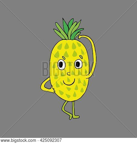 Funny Cartoon Pineapple Character. Vegetables And Fruits. Vector Illustration. Isolated. Doodles. Co