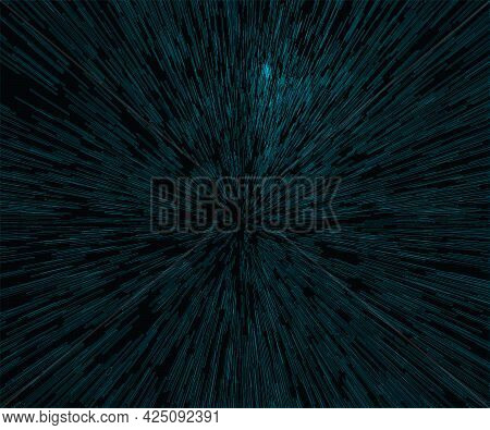 Background With Acceleration Effect. Blue Geometric Shapes On A Dark Background. Vector Illustration