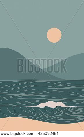 Abstract Contemporary Aesthetic Landscape With Sun, Sea, Wave, Mountains. Mid Century Modern Minimal