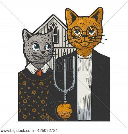 American Gothic Cats Color Line Art Sketch Engraving Vector Illustration. T-shirt Apparel Print Desi