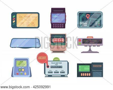 Taximeter. Service Car Kilometers Display For Pay Money Passenger Transportation Taximeter Garish Ve