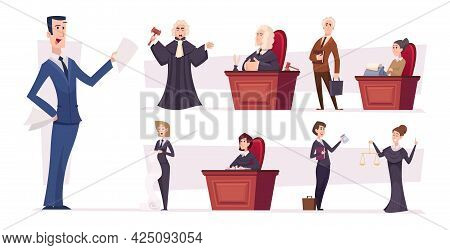 Lawyers Team. Judges Professional Workers Lawyers Persons Businessman Characters Exact Vector People