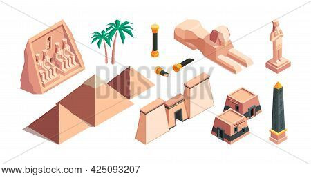 Egypt Architectural Objects. Old Historical Buildings Old Desert Historical Pyramids Garish Vector I