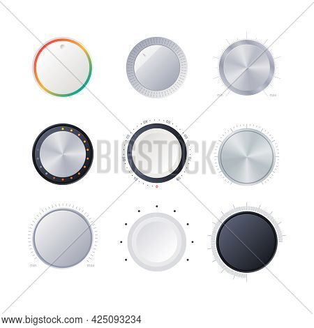 Round Scale Indicators. Amplifier Power Volume Tuner Sound Digital Radial Controller Garish Vector I