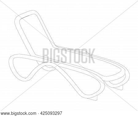 Outline Of A Summer Lounge Chair Isolated On A White Background. Vector Illustration