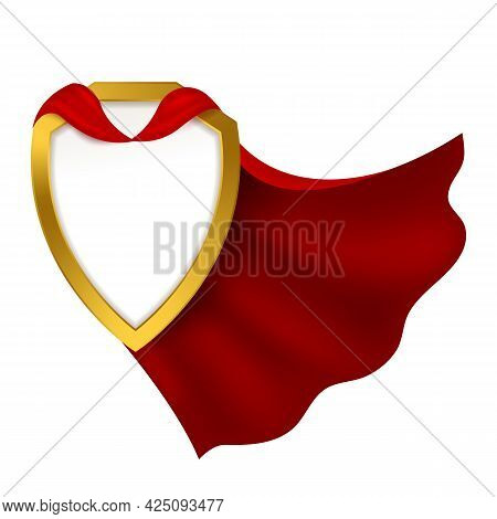 Badge With Red Cape. Realistic Carnival Clothes Mantle With Golden Shield. 3d Hero Cloak. Success An