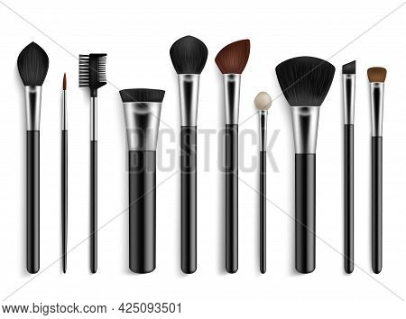 Makeup Brushes. Realistic Professional Visagiste Tools. Isolated 3d Accessories For Cosmetics. Powde