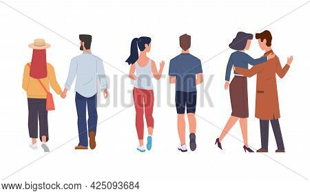 Men And Women Back View. Couple Walking And Running Together, Holding Hands, Romantic Relationships.